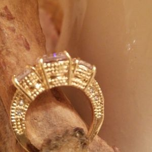 Vintage inspired gold plated 3 Stone CZ ring